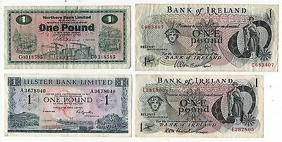 Northern Ireland £1 Pound Banknotes 4 Different Circulated Condition