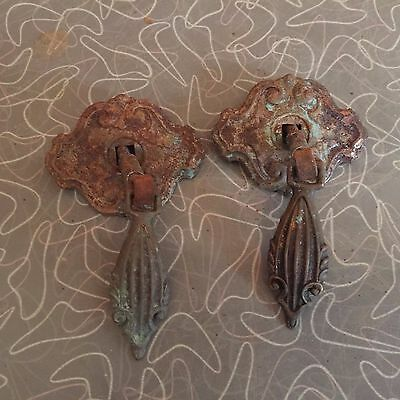 Pair of Antique Brass and Metal Drawer Pulls
