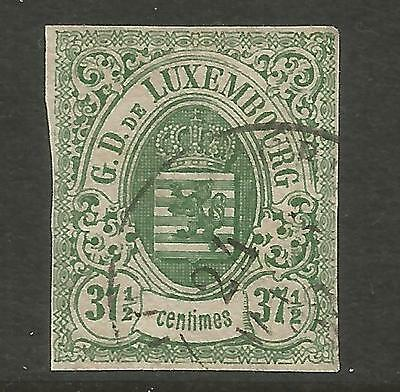 LUXEMBOURG 1859 37 1/2C IMPERFORATE MI 10, USED (o)