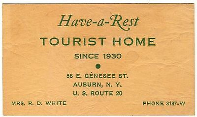 Auburn NY Have-A-Rest Tourist Home Mrs RD White Vintage Business Card