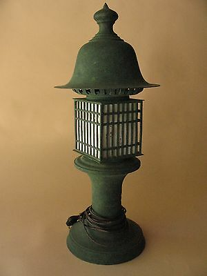 big bronze iron metal tea ceremony garden pagoda LANTERN Japanese table lamp 2ft