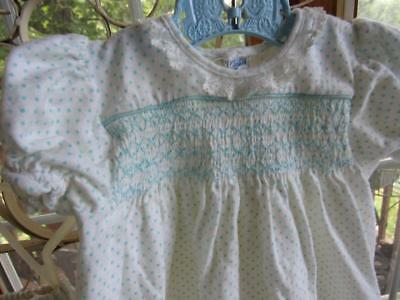 Vintage CARTER'S Little BABY Girls 2pc Dress COTTON Polka Dot Knit +Diaper Cover