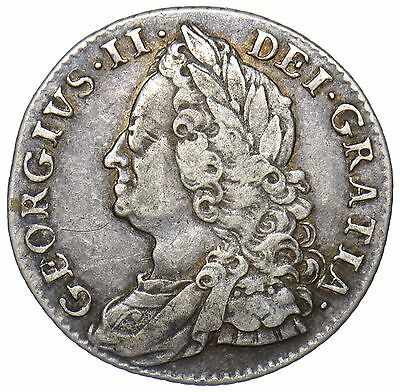 1750 Shilling - George Ii British Silver Coin - Scarce