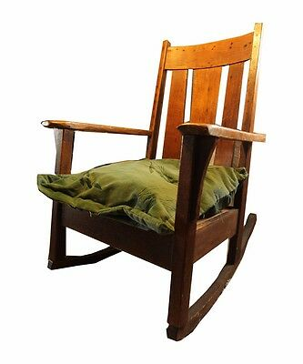 Antique Mission Oak Chair Arts and Crafts Tiger Oak c.1900 Stickley Style