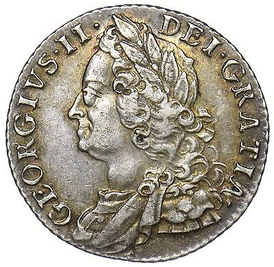 1758 Shilling - George Ii British Silver Coin - V Nice