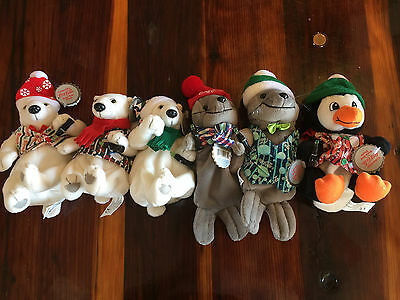 Lot of 6 Different 1999 Set Coca-Cola Coke Plush Animals Bears Seal Christmas