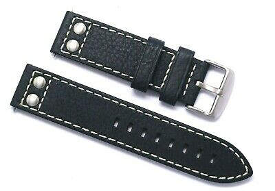 22mm Black Rivet Style Oily Cowhide Leather Replacement Watch Strap - TW Steel