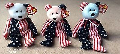 SPANGLE RED, WHITE & BLUE SET of 3 TY  BEANIE BABIES