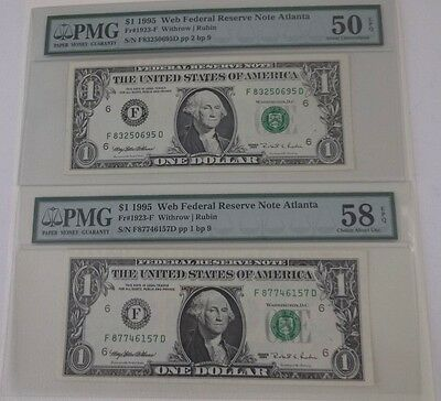 Lot of 2 RARE *Web Notes* 1995 FD 1/9 & 2/9  - Graded PMG   - FREE Shipping-