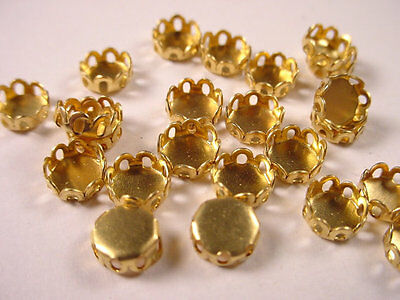 Brass Round Lace Edge Bezel Cups 5mm - 36 Pieces