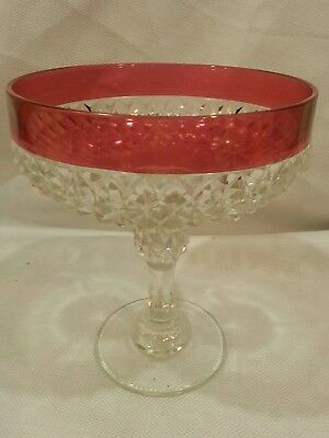 Vintage Glass Cranberry Flash Ruby Red Diamond Point Jumbo Compotes- Indiana?