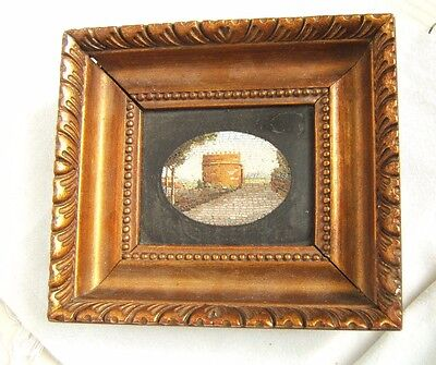 Antique Micro Mosaic Castle Ruins Scenic Nicely Done Framed