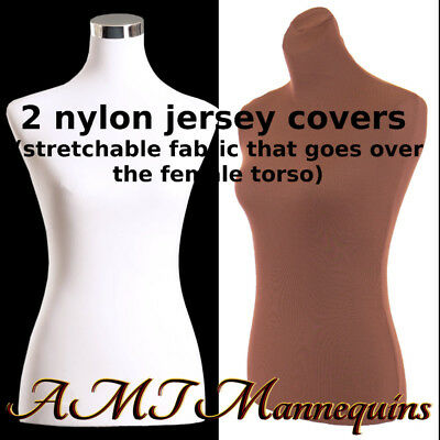 2 torso covers, to renew female mannequin torso size S, 2 nylon Jerseys- BRN+WHT