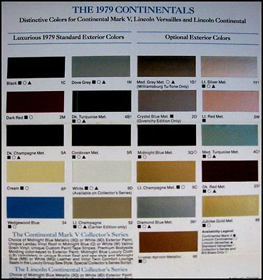 1979 Lincoln Color Chip Paint Selector Brochure Continental Versailles Mark V 79