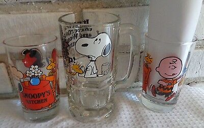 3 SNOOPY PEANUTS root beer mug & tumblers glasses Charlie Brown Lucy Woodstock