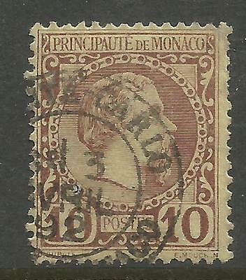 MONACO 1885, 10c REDDISH BROWN CHARLES III , Mi 4, USED (o)