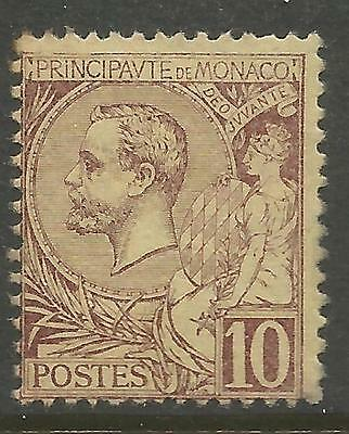 MONACO 1891, 10c BROWNISH RED ALBERT I , Mi 14, MLH*