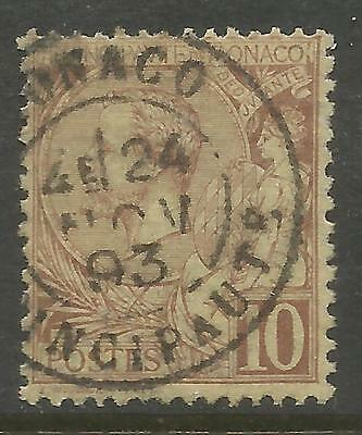 MONACO 1891, 10c BROWNISH RED ALBERT I , Mi 14, USED (o)