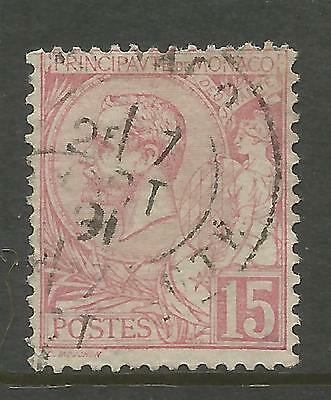 MONACO 1891, 15c ROSE ALBERT I , Mi 15, USED (o)