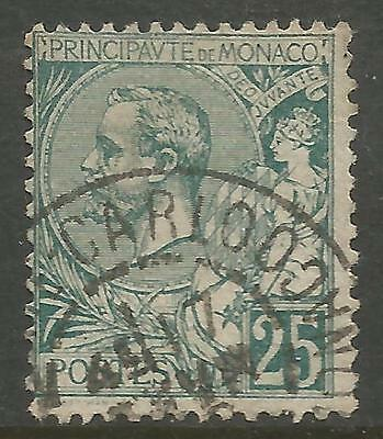 MONACO 1891, 25c GREEN ALBERT I , Mi 16, USED (o)