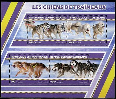 Central Africa 2017 Sled Dogs Sheet Mint Nh