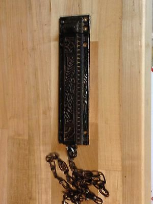 Antique Vintage Cast Iron Victorian Eastlake Door Bolt Latch Part