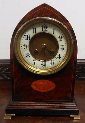 french lancet inlaid mantle clock