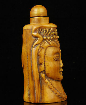 China Handwork Carved Exquisite Kwan-Yin Statue Yak Horn Snuff Bottles