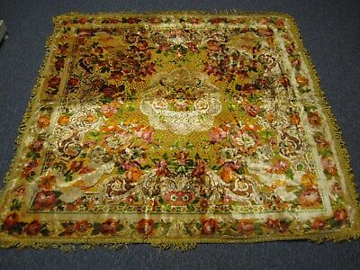 "VINTAGE MADE IN ITALY VELVETY 56"" SQUARE RUG with CHERUBS"