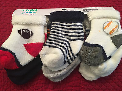 NEW Boys Carters Child of Mine Baby 6 Pair Sports Thick Socks Sock 0 3 6 Months