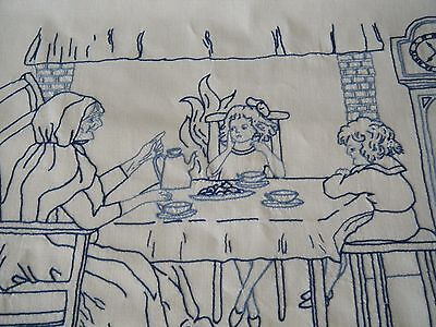 Antique  Kitchen WALL HANGING blue Embroidery breakfast with grandma Germany