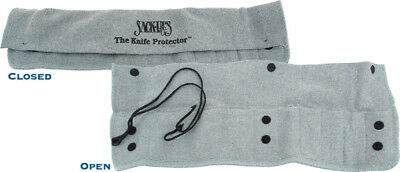 Sack Ups AC808 10. Holds 10 Knives Silicone Treated Gray Cotton Knife Roll Hold