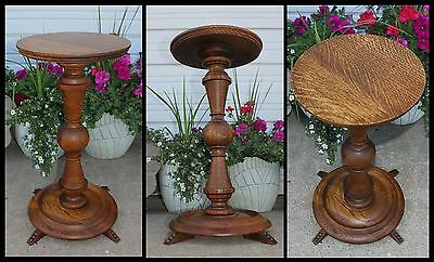 Antique Quartersawn Tiger Golden Oak Round Pedestal Pillar Fern Plant Stand NICE