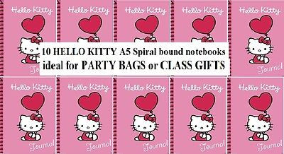 NEW  HELLO KITTY - 10 x spiral bound JOURNALS / DIARIES - IDEAL PARTY BAG GIFTS