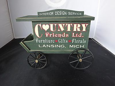 Country Friends Ltd Wooden Advertising Cart Interior Furniture Florals Lansing
