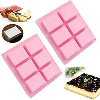 6 Cavity Silicone Soap Cake Mold Making Baking Candles DIY Rectangle New C