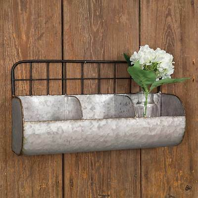 Country new large distressed gray tin divided Wire back wall rack / Nice