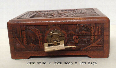 Vintage Oriental Camphor Wood Carved Trinket Box - With Original Lock - 1965