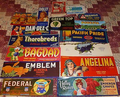 Lot/16 VINTAGE CAN, PACKAGE & ICE CREAM LABELS Mr Big, Polar Brand, Dolly, Hot
