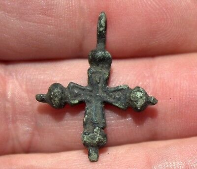 Small Ancient Viking Bronze Cross Pendant #20 Found In Estonia