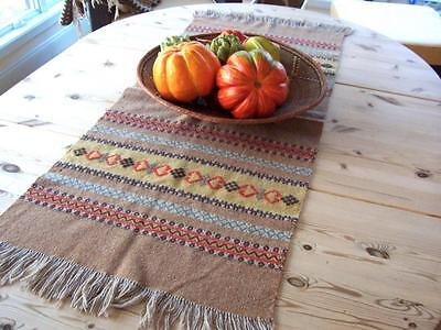 HANDSOME ANTIQUE NORWEGIAN TABLE RUNNER with a raw wool look. From Norway.