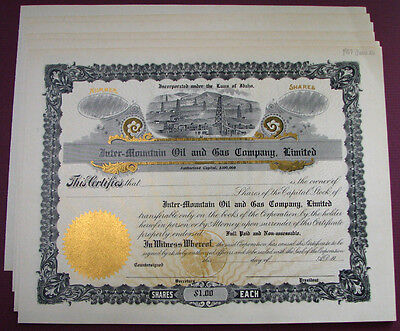 6 old ca 1917 BOISE, IDAHO ID / INTER MOUNTAIN OIL & GAS CO. stock certificates