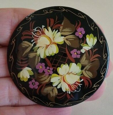 Russian Enamel Lacquer Floral Round Brooch