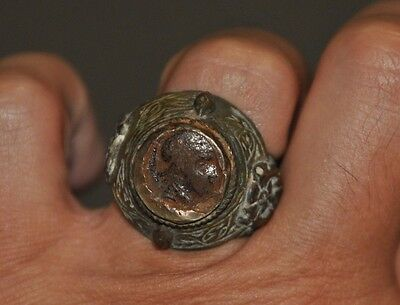 Vintage / Ancient Cleopatra ?? Bronze Ring Sz 9