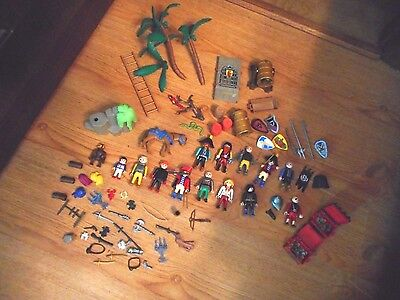 Misc Lot Of Playmobil Parts And Figures Some Pirate And 2 Treasure Chests