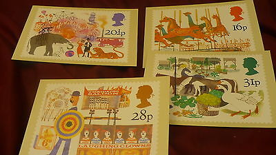 United Kingdom UK postcard fair side show 4 pieces circus lot P308