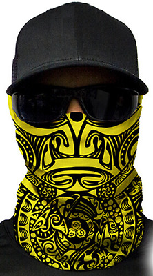 MOTORCYCLE FACE MASK - TRIBAL YELLOW & BLACK - (Hunting, Fishing, Paintball)