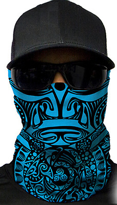 MOTORCYCLE FACE MASK - TRIBAL BLUE - (Moto, Hunting, Fishing, Paintball)