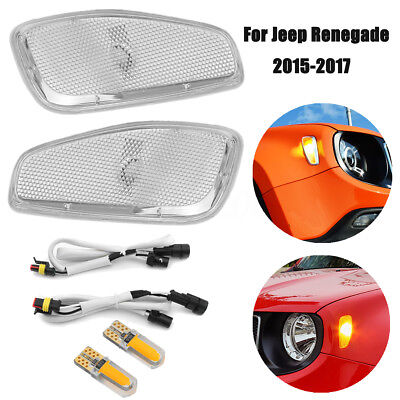 2PCS Side Marker Lamp Covers with LED Light Cable for 2015-2016 Jeep Renegade