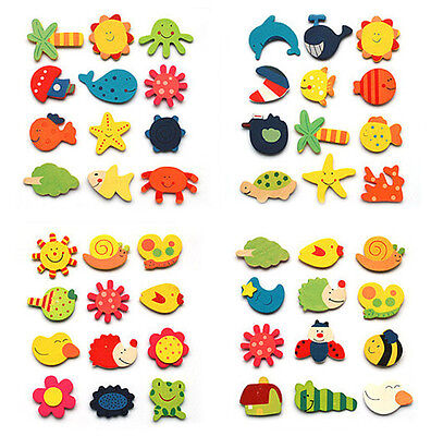 12pcs Fridge Magnet Wooden Cartoon Animals Novelty Magnets Colourful Kid's Fun